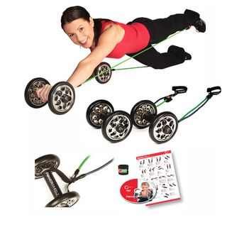 Gymstick Power Wheelz PRO Wheels Exercise Roller + Tubings
